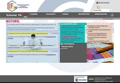page accueil extranet